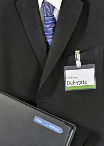 Male global business conference delegate