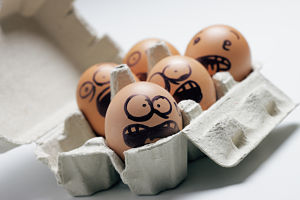 funny eggs with facial expression: scared screaming and being terrified.